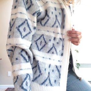 Soft Knit Cardigan | Vintage Blue White Sweater ML